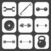 image of weight lifter  - Set of sign weights for fitness or gym icons - JPG