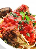 pic of meatball  - Spaghetti with meatballs isolated on white background - JPG