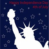 stock photo of statue liberty  - Blue background with stars and a silhouette of the statue of liberty - JPG