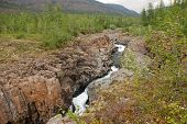 pic of taimyr  - Rocky canyon of the mountain river - JPG