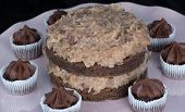 stock photo of lice  - Close up of german chocolate cake on a white Plate surrounds by mini chocolate cupcakes - JPG