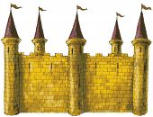 picture of fortified wall  - a large building or group of buildings fortified against attack with thick walls - JPG