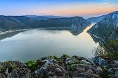 stock photo of mary  - landscape in the Danube Gorges. Cazanele Mari seen from the Romanian side ** Note: Shallow depth of field - JPG