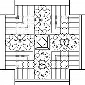 pic of wrought iron  - Wrought Iron Fireplace Grill Vector Art - JPG