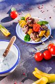 image of meatball  - grilled meatballs with vegetables - JPG