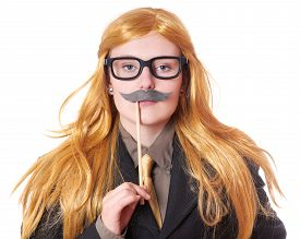 picture of crossdressing  - young woman with fake moustache dressed up as a man - JPG