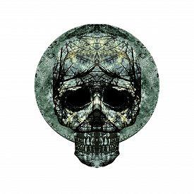 picture of motif  - Digital art grunge textured skulls ornament art motif dark seamless pattern in silver and black colors - JPG