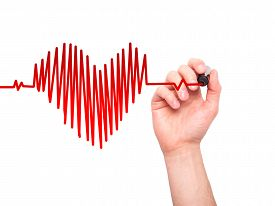 image of beating-heart  - Closeup of hand drawing heart beat in heart shape - JPG
