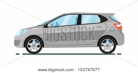 poster of City car isolated on white background. Vector hatchback car. Vehicles cartoon car isolated. Hatchback car side view isolated. Urban car or family car cartoon style. Modern car model. Hatchback icon. For car rental service or car sale poster. Car ad.