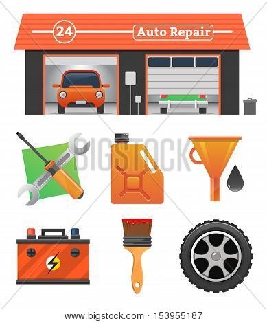 poster of Auto repair icons set Vector garage concept. Car tuning, gas station, oil, auto repair, battery charging, autocorrect, car painting. Car in garage, car wash