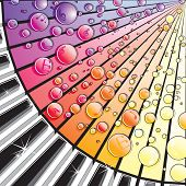 picture of rainbow piano  - Abstract illustration of Piano Keys with Melody Bubbles - JPG