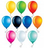 Party balloons isolated on white - vector illustration for your design