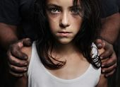 image of domestic violence  - Dirty hands on a girl - JPG