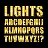 Vector yellow neon lamp letters font show casino and teather poster
