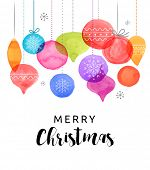 Christmas backgound with Christmas balls, watercolor vibrant colors Christmas decoration, Merry Chri poster