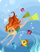 stock photo of undine  - vector Illustration of a cute diver girl - JPG