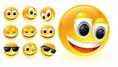 picture of happy-face  - Vector smiles glossy set  - JPG