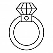 Diamond Ring Icon. Outline Diamond Ring Icon For Web Design Isolated On White Background poster