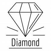 Diamond Stone Logo. Outline Illustration Of Diamond Stone Logo For Web Design Isolated On White Back poster