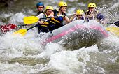 stock photo of raft  - Group of people whitewater rafting and rowing on river - JPG