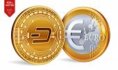 Dash. Euro Coin. 3d Isometric Physical Coins. Digital Currency. Cryptocurrency. Golden Coins With Da poster