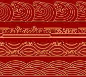 Water Chinese Sea Collection, Ocean Waves Theme, Trendy Retro Seamless Horizontal Pattern. Asian Jap poster