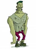 stock photo of frankenstein  - Cartoon Frankenstein monster with green skin for Halloween - JPG