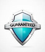 Vector guaranteed shield icon. Blue color