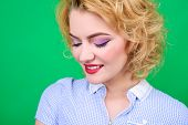 Closeup Portrait Of Woman With Bright Pin Up Make Up. Portrait Of Sensual Blond Pin Up Girl. Woman W poster