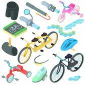 Cartoon Biking Icons Set. Universal Biking Icons To Use For Web And Mobile Ui, Set Of Basic Biking E poster