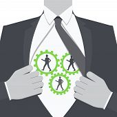 Teamwork. Businessman Show Cogwheel Mechanism On His Chest. People In Cogwheel Mechanism. Open Shirt poster