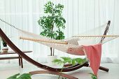 Beautiful Room Interior With Comfortable Hammock, Close Up poster