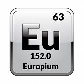 Europium Symbol.chemical Element Of The Periodic Table On A Glossy White Background In A Silver Fram poster