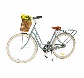 Retro Bicycle With Wicker Basket On White Background poster