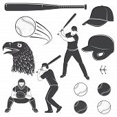Set Of Baseball Equipment And Gear. Vector Illustration. Baseball Seam Brushes. Ball For Baseball, B poster