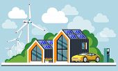 Energy Saving House. Ecological House. Green Energy An Eco Friendly Modern House. Solar, Wind, Geoth poster