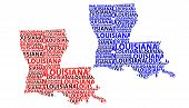 Sketch Louisiana (united States Of America, Pelican State) Letter Text Map, Louisiana Map - In The S poster