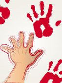 image of shaky  - Red hand prints being placed on a wall by a shaky hand - JPG