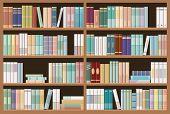 Bookshelves Full Of Books. Education Library And Bookstore Concept. Seamless Pattern. Vector Illustr poster