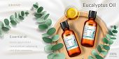 Banner For Eucalyptus Oil. Advertising With Realistic 3d Glassware Bottle And Plant Branch, Plate Fo poster