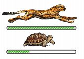 Cheetah And Turtle. Fast And Slow Loading Bar. Vector poster