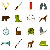 Hunting Icons Set In Flat Style. Hunters Equipment Set Collection Illustration poster