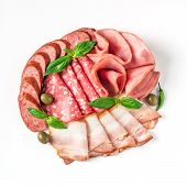 Antipasto Set Platter Isolated On White Background. Cold Smoked Meat Plate With Sausage, Sliced Ham, poster