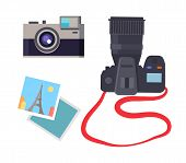 Photo And Camera Of Different Types, Devices Making Photography, French Eiffel Tower In Paris Captur poster