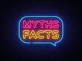 Myths Facts Neon Text Vector. Myths Facts Neon Sign, Design Template, Modern Trend Design, Night Neo poster