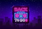 Back To 90s Neon Poster, Card Or Invitation, Design Template. Retro Tape Recorder Neon Sign, Light B poster