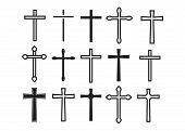 Cross Christian. Christian Cross Icons. Line Black Christian Cross poster