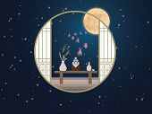 Happy Mid Autumn Festival Design. Moon Festival. Rabbits On Night Background With Beautiful Full Moo poster