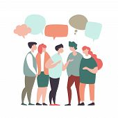 Vector Illustration Young People Communicate, Interact, Discuss With Speech Bubbles In Modern Design poster