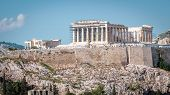 Panorama Of Acropolis With Parthenon, Athens, Greece. Ancient Greek Parthenon Is The Main Landmark O poster